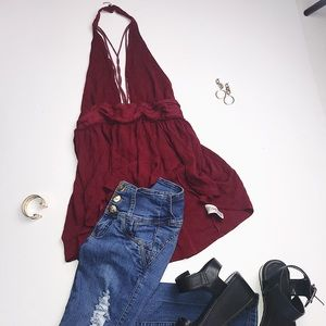 Free People Flowy Open Chest Top